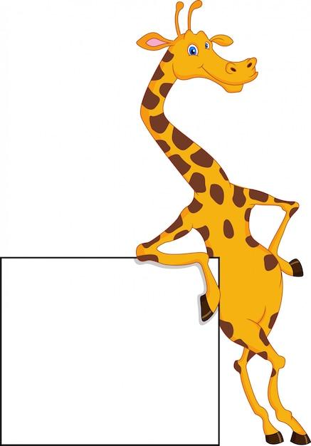 Dessin Animé Mignon Girafe Avec Signe Vierge   Vecteur Premium