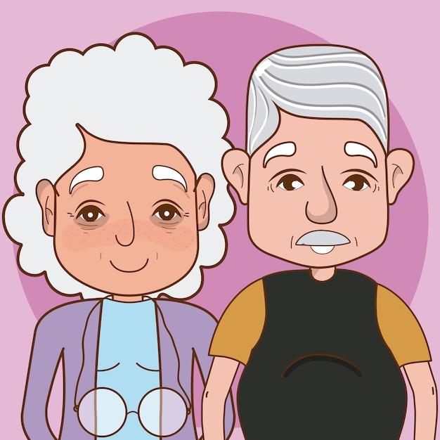 Dessin animé mignon grands-parents sur fond coloré Vecteur Premium