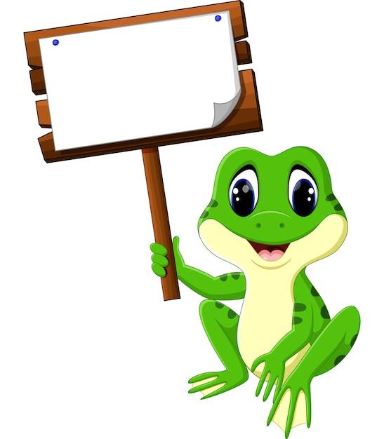 Dessin animé mignon grenouille Vecteur Premium