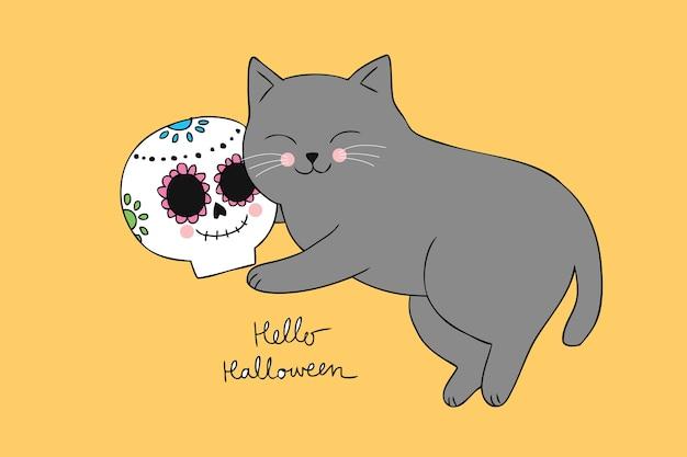 Dessin Anime Mignon Halloween Chat Dormant Et Vecteur De Crane