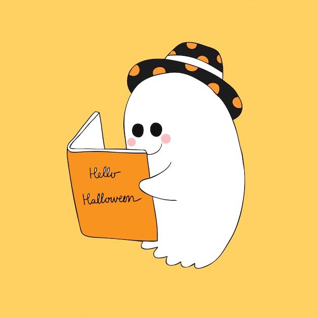 Dessin Anime Mignon Halloween Fantome Lire Un Vecteur De