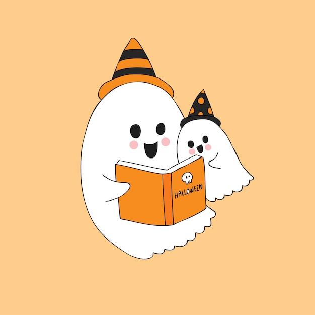 Dessin Anime Mignon Halloween Fantomes Lisant Vecteur De