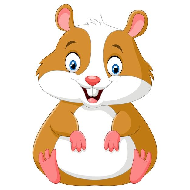Dessin Anime Mignon Hamster Vecteur Premium