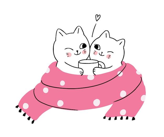 Dessin animé mignon hiver, chats buvant du café Vecteur Premium