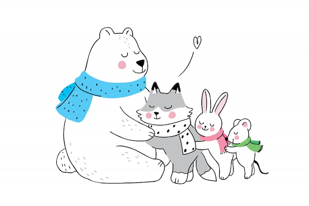 Dessin animé mignon hiver ours polaire étreignant petits animaux Vecteur Premium