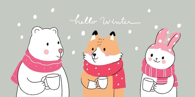 Dessin animé mignon hiver, ours polaire et le renard et le lapin boivent du café Vecteur Premium