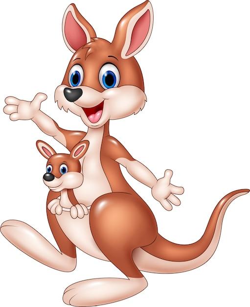 Dessin animé mignon kangourou agitant la main avec bébé joey Vecteur Premium