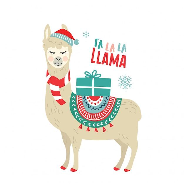 Dessin animé mignon lama alpaga graphisme vectoriel pour les vacances de noël Vecteur Premium