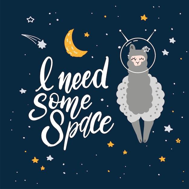 Dessin Animé Mignon Avec Lama Dans L'espace. Vecteur Premium