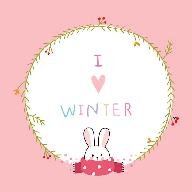 Dessin animé mignon lapin d'hiver et cadre floral Vecteur Premium