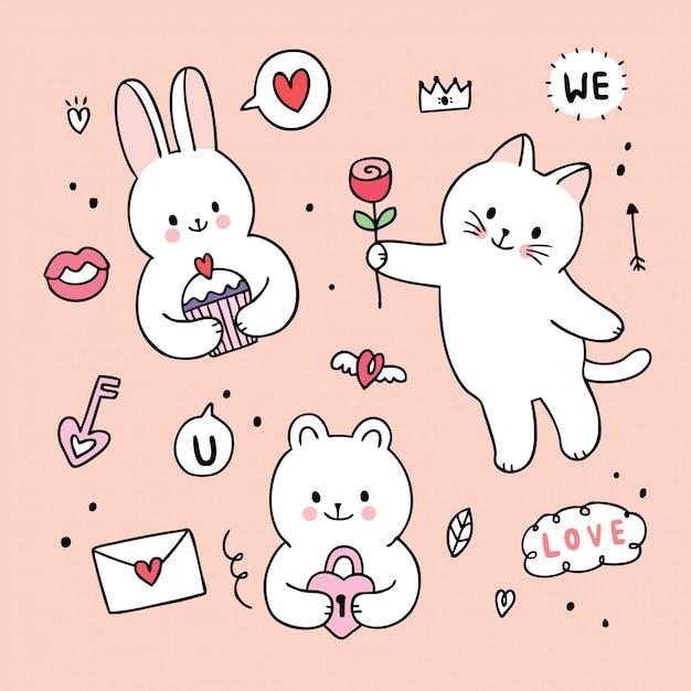 Dessin Animé Mignon Lapin Saint Valentin Et Chat Et Ours Et Lovw Doodle Vecteur. Vecteur Premium