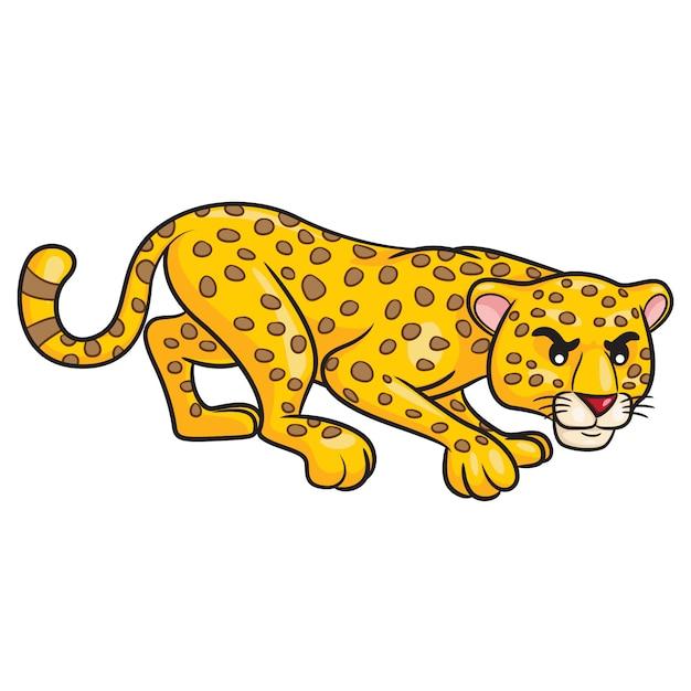 Dessin animé mignon léopard Vecteur Premium