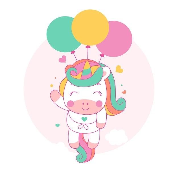 Dessin Animé Mignon Licorne Voler Avec Des Ballons Style Kawaii Vecteur Premium