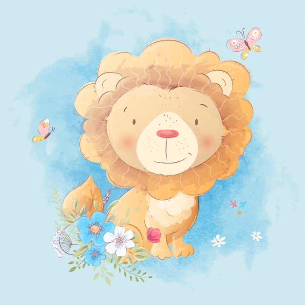 Dessin animé mignon d'un lion avec un bouquet de fleurs dans le style Vecteur Premium