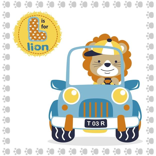 Dessin animé mignon lion sur un véhicule Vecteur Premium
