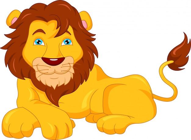 Dessin animé mignon de lion Vecteur Premium