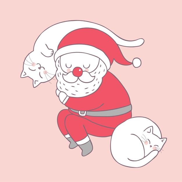 Dessin Animé Mignon Noël Père Noël Et Les Chats Dorment Le