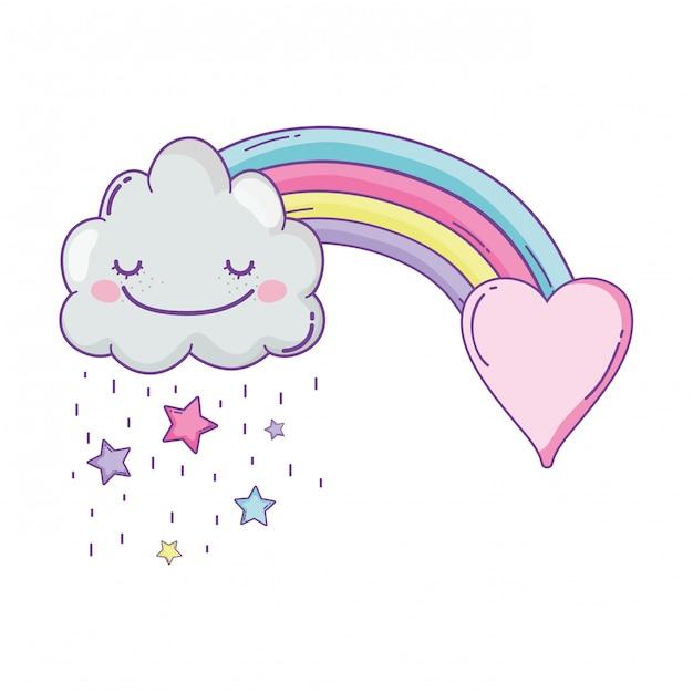 Dessin animé mignon nuage et arc-en-ciel Vecteur Premium