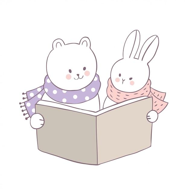 Dessin animé mignon ours et lapin vecteur de livre de lecture. Vecteur Premium