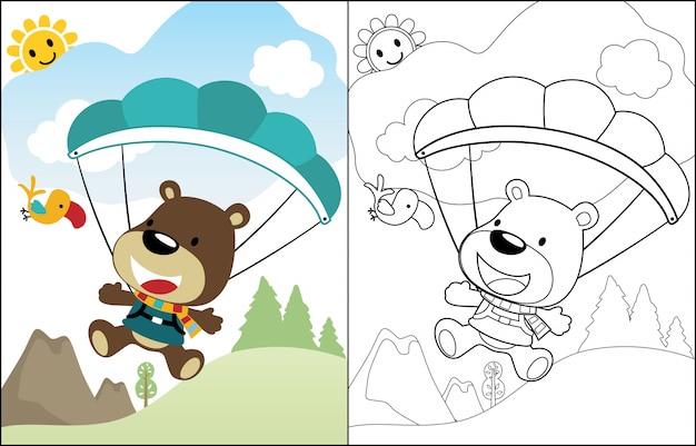 Dessin animé mignon ours le parachutiste Vecteur Premium