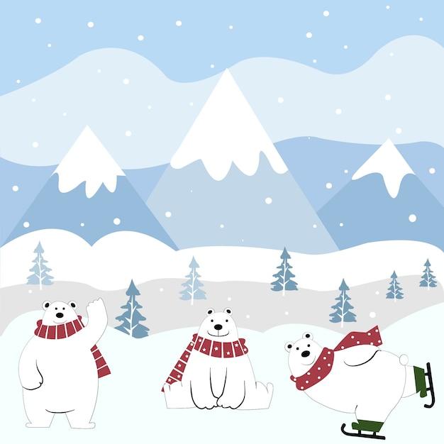 Dessin animé mignon ours polaire heureux en hiver. Vecteur Premium