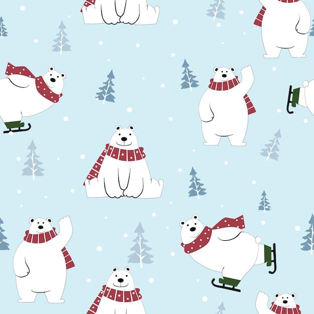 Dessin animé mignon ours polaire heureux sur le modèle sans couture de l'hiver. Vecteur Premium