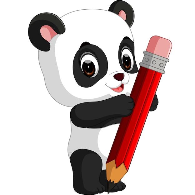 Dessin Animé Mignon Panda Tenant Un Crayon Télécharger Des