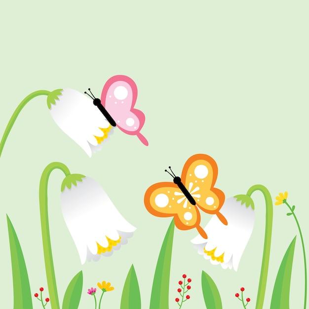 Dessin Animé Mignon Papillons Et Fleurs Blanches Dans Le Jardin