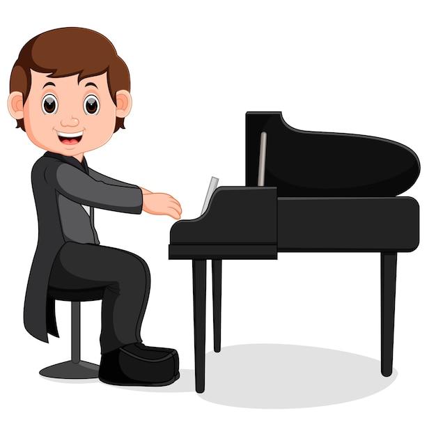 Dessin animé mignon petit garçon jouant du piano Vecteur Premium