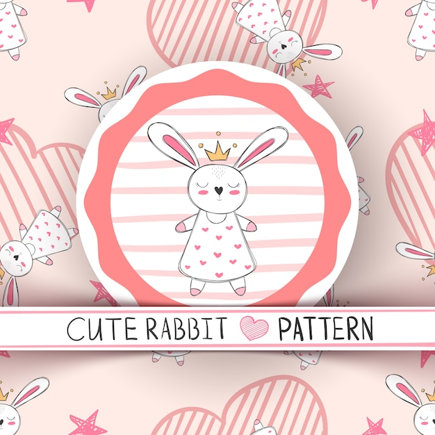 Dessin animé mignon petit lapin princesse Vecteur Premium