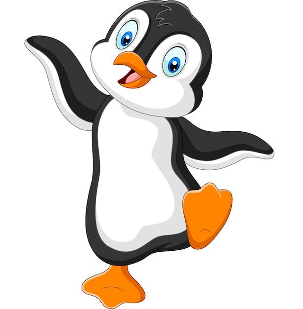 Dessin animé mignon de pingouin dansant Vecteur Premium