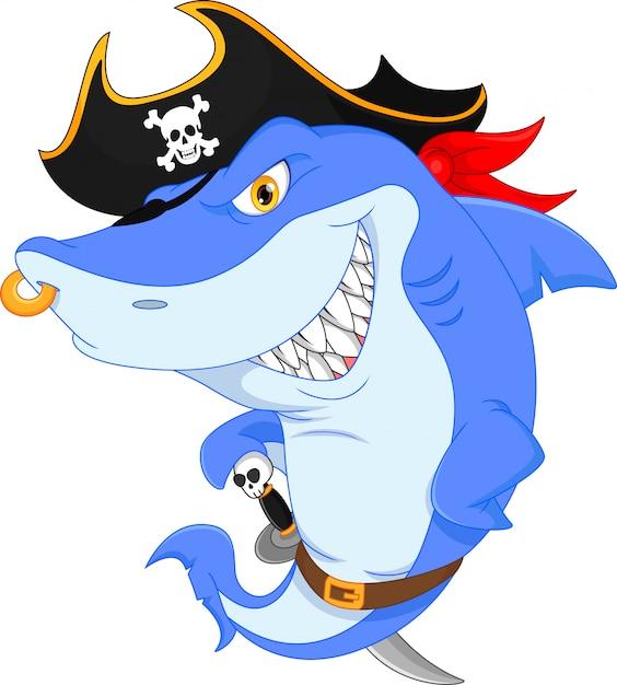 Dessin animé mignon de pirate de requin Vecteur Premium