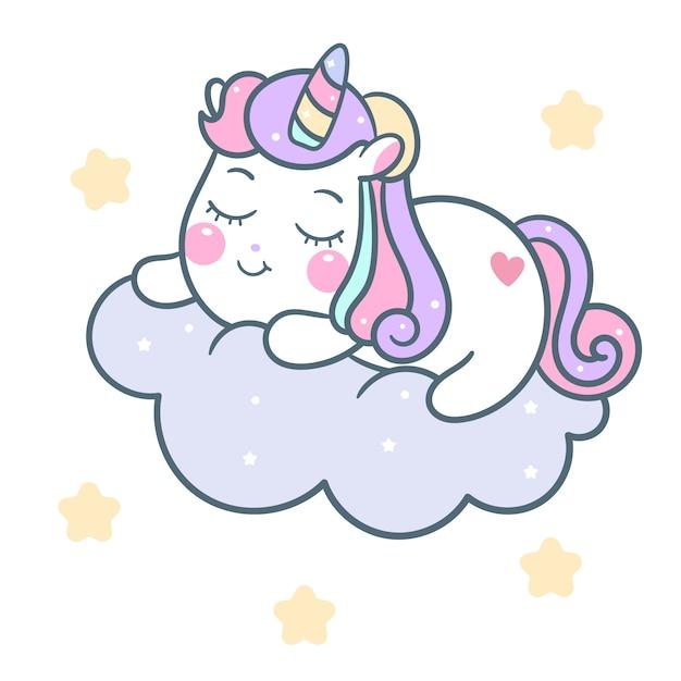 Dessin animé mignon poney licorne dormir sur nuage Vecteur Premium