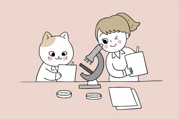 Dessin animé mignon retour à l'école chat et fille en classe de sciences Vecteur Premium
