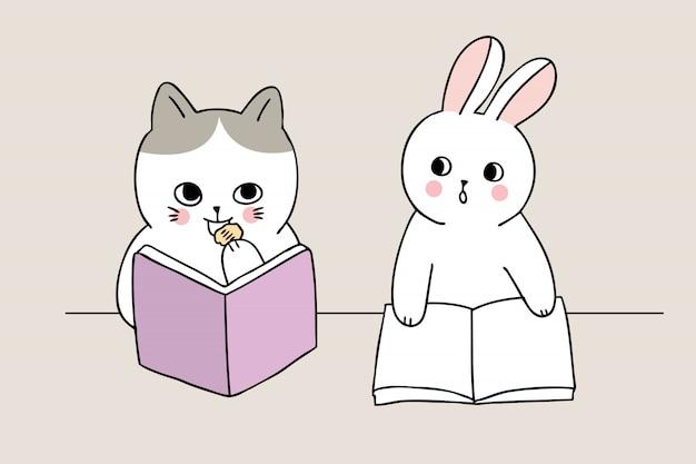 Dessin animé mignon retour à l'école chat manger collation en classe Vecteur Premium