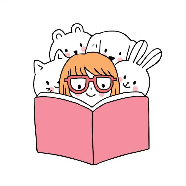 Dessin Anime Mignon Retour A L Ecole Fille Et Livre De