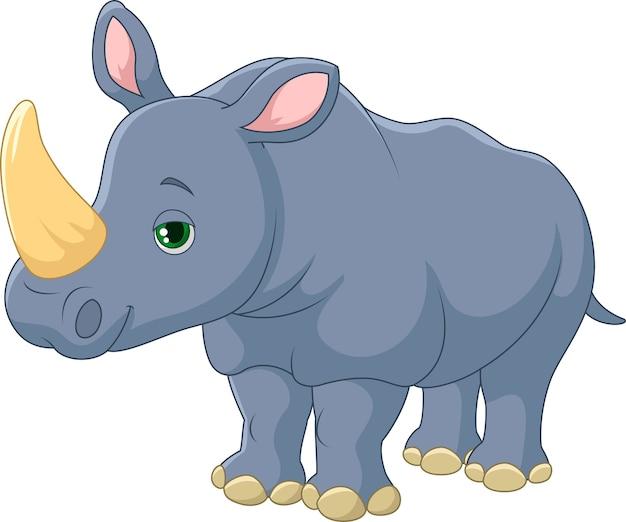 Dessin animé mignon de rhinocéros Vecteur Premium