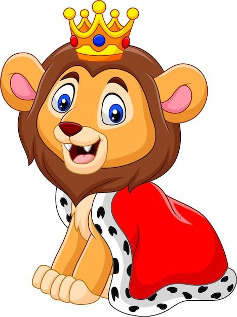 Dessin animé mignon roi lion Vecteur Premium