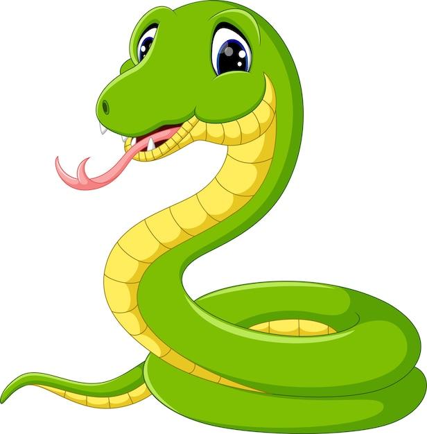 Dessin animé mignon serpent vert Vecteur Premium