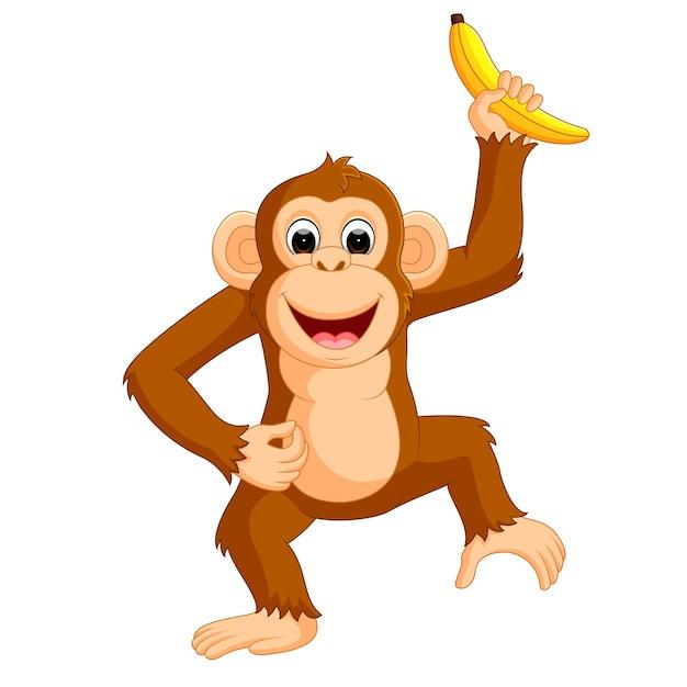 Dessin Animé Mignon Singe Manger Banane Vecteur Premium