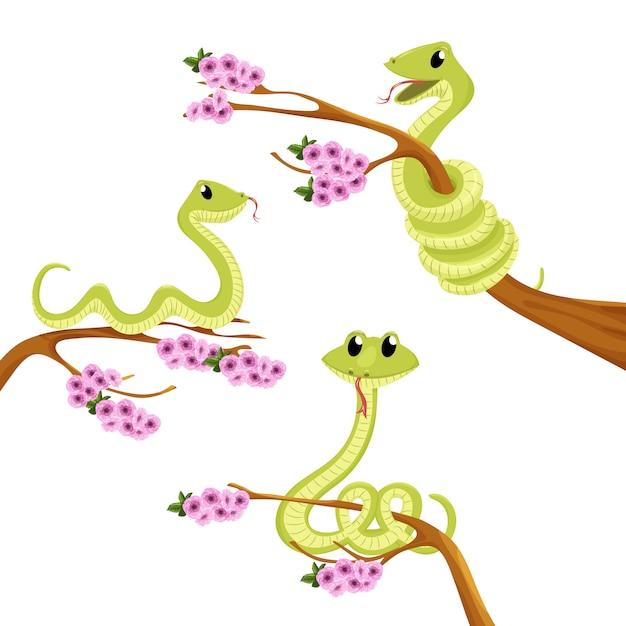 Dessin animé mignon sourire vert illustration animale de vecteur serpent. Vecteur Premium