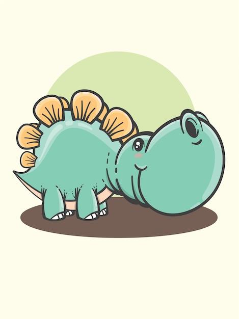 Dessin Animé Mignon Stegosaurus Vecteur Premium