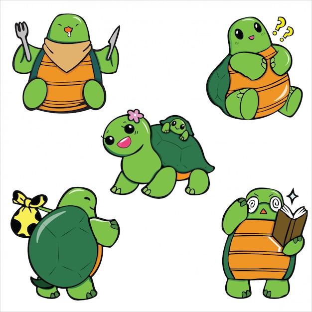 Dessin animé mignon de tortue. Vecteur Premium