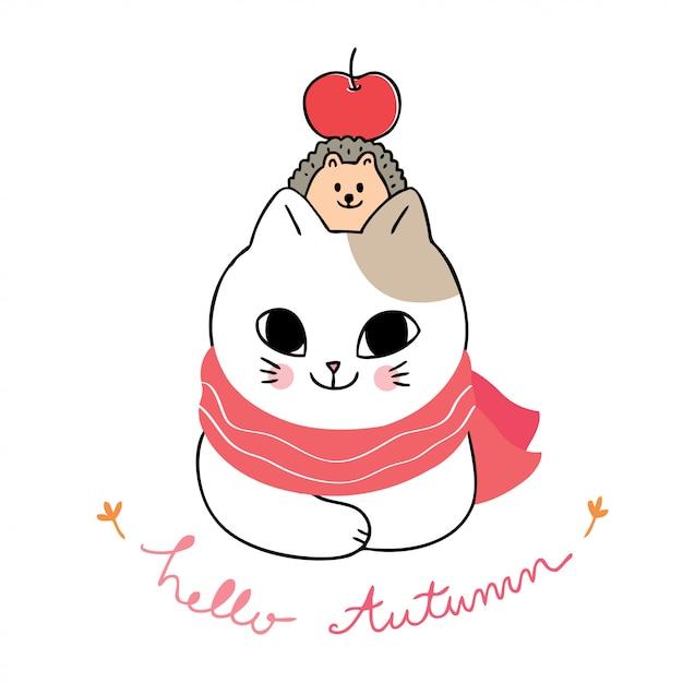 Dessin animé mignon vecteur d'automne, de chat et de hérisson et de pomme. Vecteur Premium
