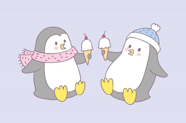 Dessin animé mignon vecteur de pingouin et de la crème glacée. Vecteur Premium