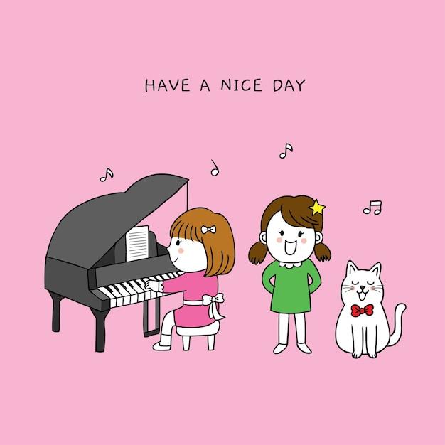 Dessin animé mignonnes petites filles et chanson heureuse de chat. Vecteur Premium