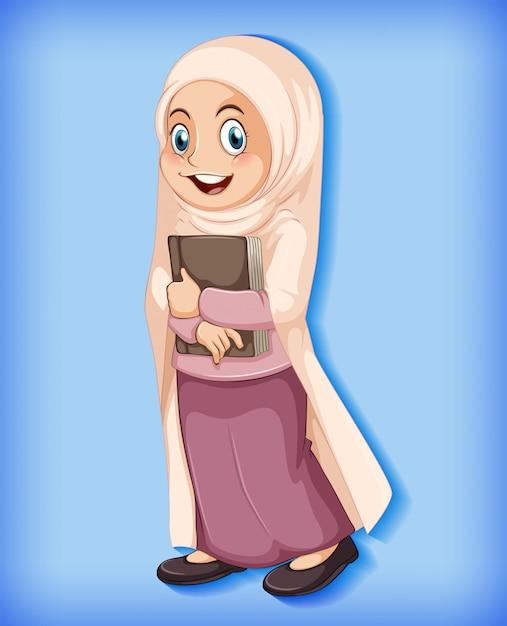 Dessin Animé Musulman Féminin Sur Fond Dégradé De Couleur De Caractère Vecteur gratuit