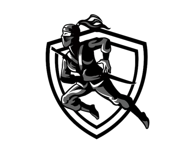 Dessin anim ninja silhouette femme mascotte t l charger des vecteurs premium - Dessin anime ninja ...