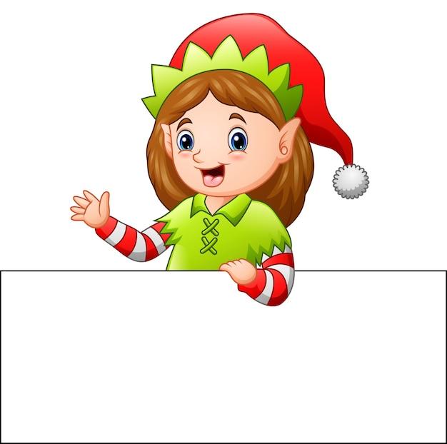 Dessin Animé Noël Elf Agitant à Un Signe Vierge Vecteur Premium