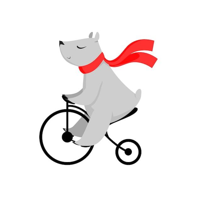 Dessin animé ours en écharpe rouge à vélo Vecteur gratuit